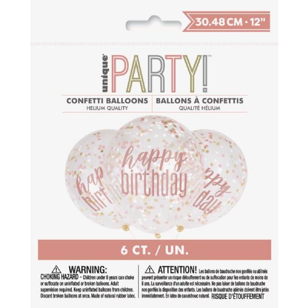 Happy Birthday 12in Clear Confetti Latex Balloons